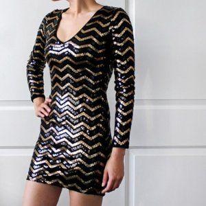 Black and Gold Chevron sequin Bodycon Dress